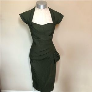 STOP STARING! Army Green Pin Up 50's-60's Dress